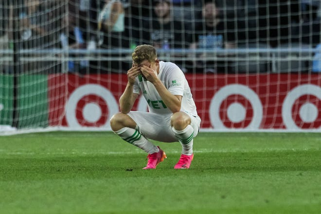 Austin FC defender Aedan Stanley reacts to the team's 2-0 loss to Minnesota United on Wednesday at Allianz Field in St. Paul, Minn. Stanley started for the first time this season in place of left back Žan Kolmanič, who was rested.