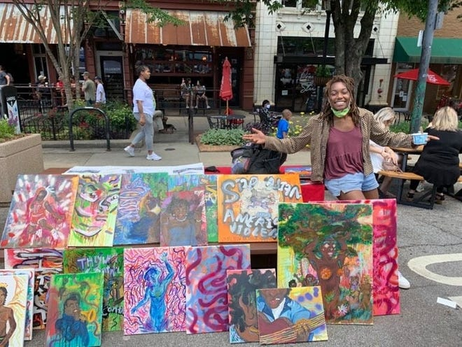 Daelynn White at the first Athens Black Market in downtown.
