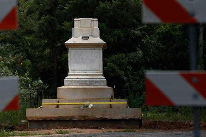 The Athens' Confederate memorial monument formally located downtown on Broad Street is being reassembled off of Macon Highway in Athens, Ga., on Thursday, June 24, 2021. The new location is near Barber Creek the site of Athens' only civil war skirmish.