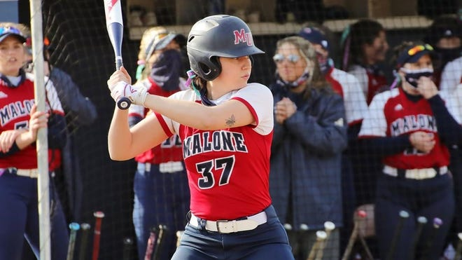 Bailey Byers prepares to hit during a Malone University softball game in 2021. Byers batted .504 during the season, hitting 15 home runs with 43 RBIs.