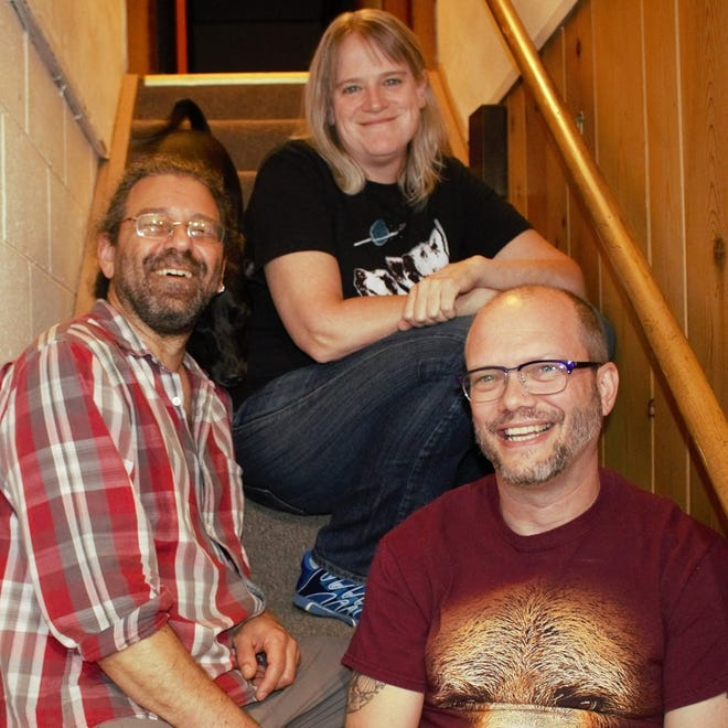 """With band members Greg Bruna, Rachel Dudley and Bryon Dudley, Strong Like Bear will celebrate the release of its new album """"In the Future, Only the Rich Will Live Forever"""" with a concert at Alluvial Brewing Company on Friday from 7 p.m. to 9:30 p.m. (Also pictured, the Dudleys' dog Geddy.)"""