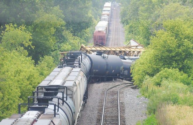 Cars on a Union Pacific train derailed near Dayton Avenue Thursday, June 24, 2021, in Ames, Iowa.
