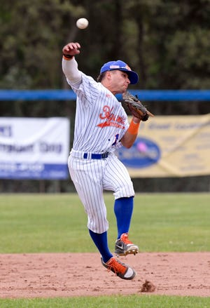 Mariano Ricciardi of Hyannis turns to throw to first in attempt to prevent John Rhodes of Cotuit from reaching base.