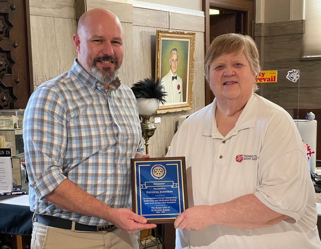 El Dorado Rotary Club incoming President Issac McNary presented Major Patricia Johnson a plaque of recognition and appreciation to commemorate her year of service to the El Dorado Rotary Club as President for the 2020-2021 year.