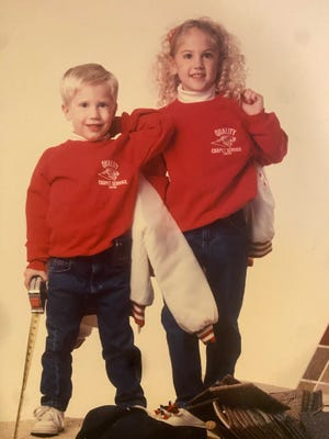 Pictured are Chris and Ashley as children promoting the family business.