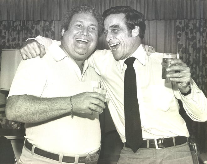 Dr. David Ucker, right, embraces Dr. Donald Plotnick, a close friend, as the two celebrate Ucker's acquittal in the murder of Dr. Walter Bond on Sept. 5, 1979. Two years later, Plotnick and two other men were accused and ultimately convicted of setting a man on fire at an East Side intersection.