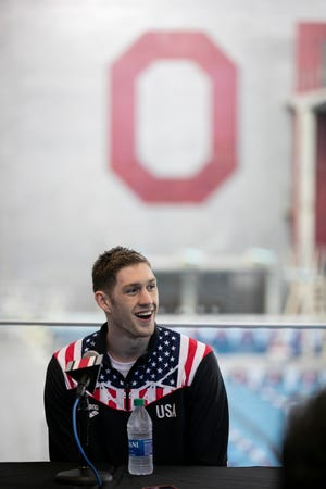 Hunter Armstrong swam in the preliminaries for the U.S. 4x100 medley relay swim team.