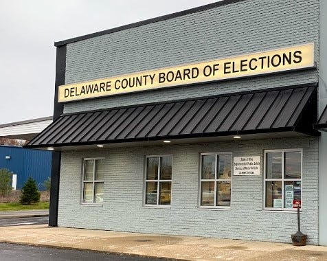 Delaware County Board of Elections office, located at 2079 U.S. Route 23 North in a former shopping plaza that has been repurposed as a Delaware County Government Center, next to a Big Lots store.
