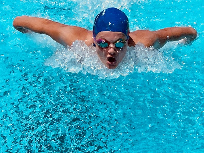 Bohn Pool Waverunners' Ella Salenbien swims during a meet Tuesday in Temperance against the Green Hills Gators.