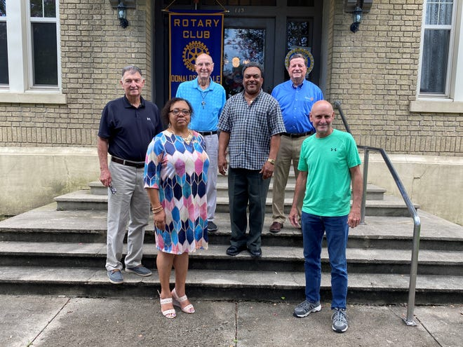 """Donaldsonville Rotary Club officers pose in front of the Elks Building. Shown from left are Bill Dawson, Juanita Pearley, Louis """"Boo"""" LeBlanc, Jeffrey Henry, Gasper Chifici, and Dave LeBlanc."""