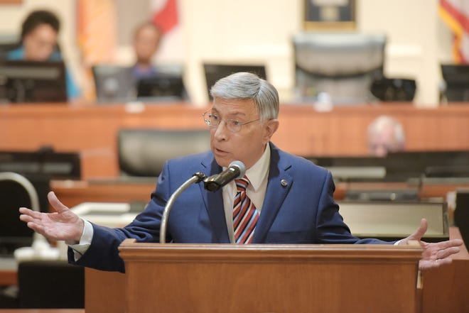 Jacksonville City Council member Tommy Hazouri, shown here at City Hall in June, could be honored by council renaming the chamber at City Hall after him.