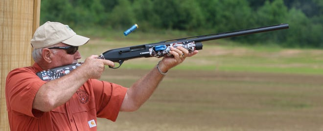 Johnny Hutchins, a Cleveland County commissioner, uses his shotgun Thursday morning, June 24,2021, at the newly expanded Foothills Public Shooting Complex on Fielding Road off N.C. 150 in Cleveland County, west of Cherryville.