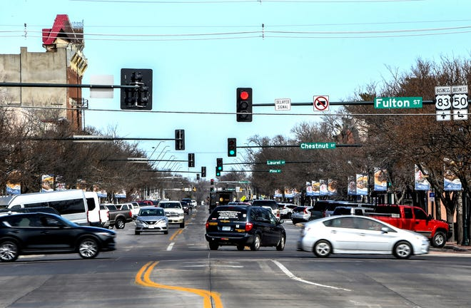Traffic flows through downtown Garden City.  Jobs are increasing in Garden City/Finney County and more workers are needed, as the May unemployment rate was at 2.2 percent.