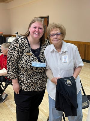 Betty Cadoret, Stockton, celebrating 25 years as a Senior Companion with Jessica Shank, Program Coordinator for the Senior Companion Program.