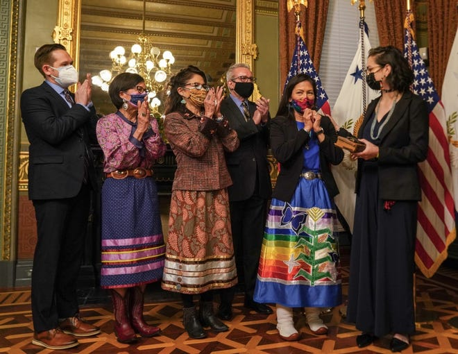 Deb Haaland, second from right, is shown at her swearing in ceremony on March 18, when she became the 54th secretary of the Department of the Interior. Haaland was wearing a ribbon skirt created by MCCSC education program graduate Agnes Woodward.