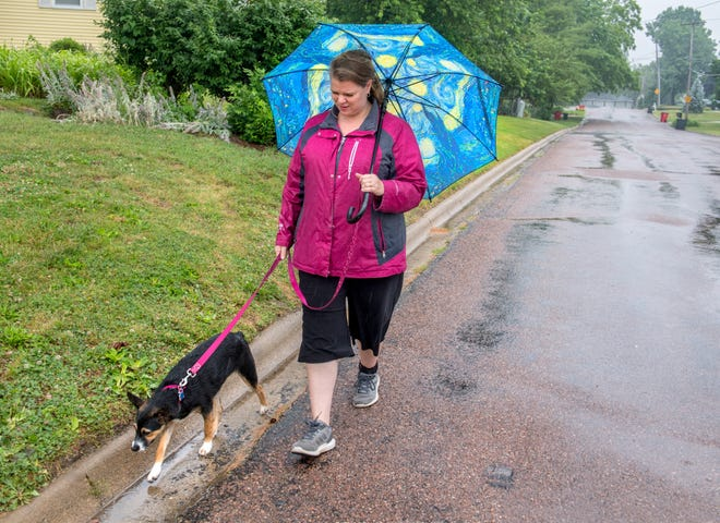 Becci Bush of Peoria Heights walks her dog Valentine, a 6-month-old Australian shepherd mix, in a steady rainfall Thursday, June 24, 2021 in Peoria Heights.