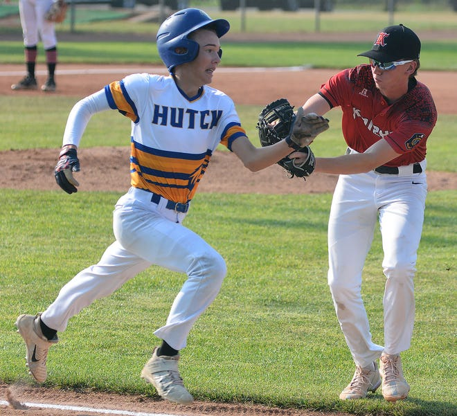Newton Knight first baseman Trev Golubski tags out Hutchinson player Mikah Giles during a doubleheader Wednesday at Klein-Scott Field. Newton plays the Topeka Scrappers and Buhler Nationals Friday at the Bob Hooper Classic in McPherson and Buhler.