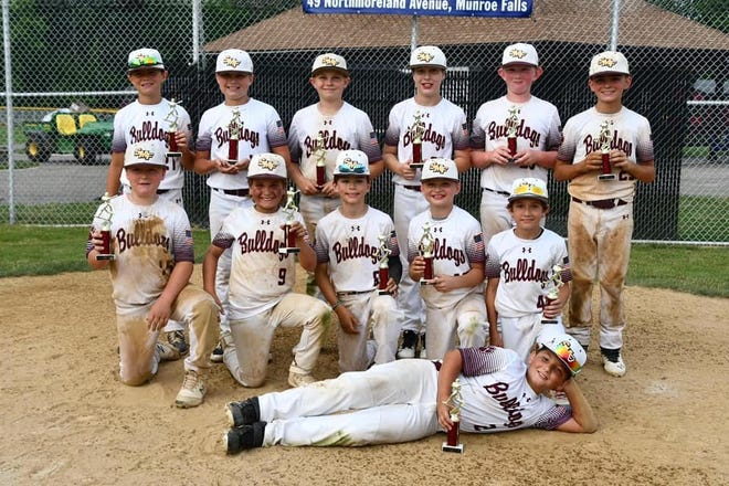 The 10U Stow Bulldogs won the Cuyahoga Falls Little League Dave D. Memorial Tournament June 20. Team members for the Bulldogs include,in front, Matthew Hodge. Second row, from left, are Kaden Moore, Mason Crawford, Ryder Horwath, Nolan Guidone and Mason Abernathy. Back row, from left, are Gabe Patterson, Jackson Kruse, Gavin Lindsey, Mason Zigman, Owen Huff and Luke Beatty.
