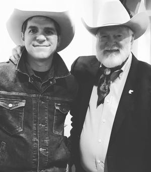 Andy Hedges and his Cowboy Crossroads podcast will partner with the National Ranching Heritage Center to record a new series of podcasts featuring past recipients of the National Golden Spur Award. Hedges' interview with Western entertainer Red Steagall (right) will launch June 29 and be available indefinitely at https://andyhedges.com/cowboy-crossroads.