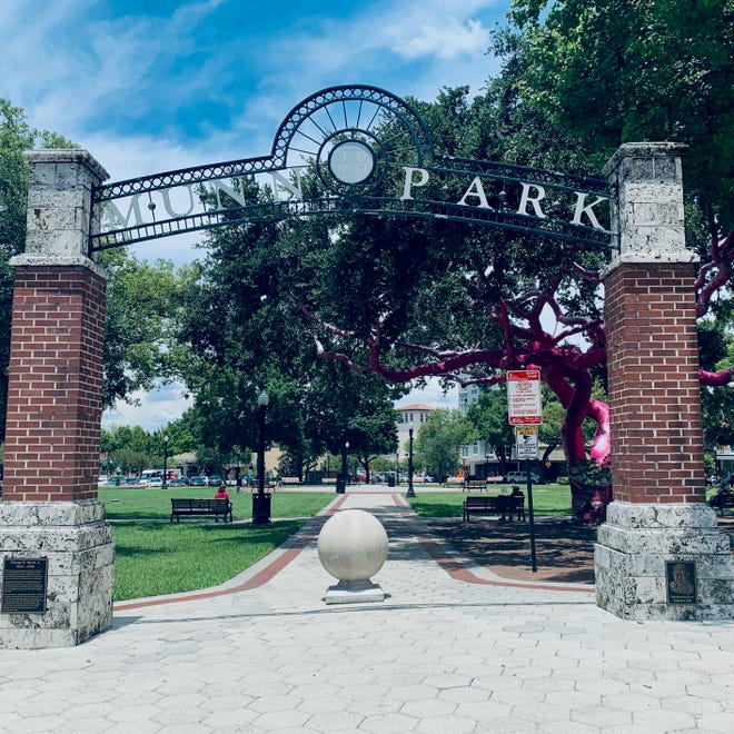 The southwest entrance to Munn Park in downtown Lakeland, June 24, 2021