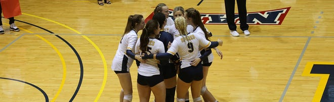 Shown are members of the University of Saint Mary volleyball team.