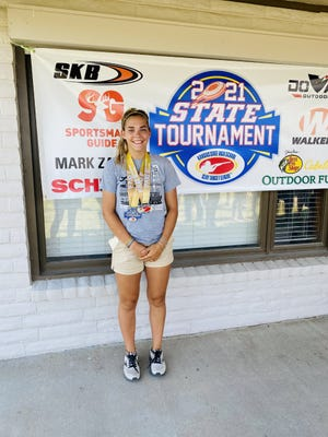 Shown is Alice Masaracchia, a Leavenworth resident and skeet shooter that competed with St. James Academy's shooting teams during the spring. Masaracchia won the Kansas State High School Clay Target League Skeet Tournament June 18 at Ark Valley Gun Club in Keshi, Kansas.