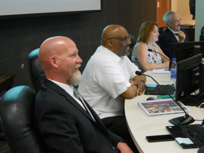 Oak Ridge Schools Superintendent Bruce Borchers and Board of Education members Benjamin Stephens, from left, and Angi Agle with Board of Education Chairman Keys Fillauer.