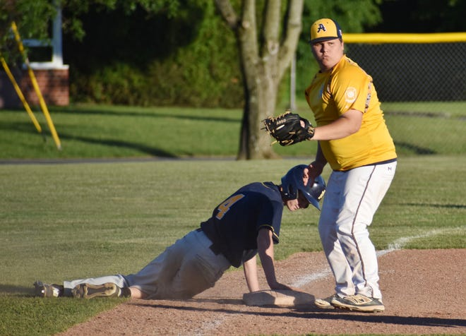 Ilion Post's William Maxwell slides safely into third to beat a tag by Adrean Post's Daniel Fitzgerald on Wednesday, June 23, 2021 at Notre Dame High School in Utica. Ilion won 10-5.