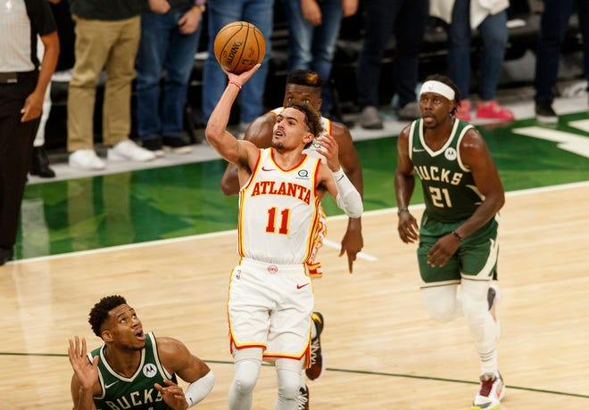 Atlanta Hawks guard Trae Young (11) agreed to a contract with the NBA team worth $170 million. The former OU and Norman North High School star led the Hawks to the Eastern Conference finals this past season.