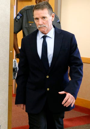 Max Leroy Townsend is shown in June leaving his murder trial in Cleveland County District Court.