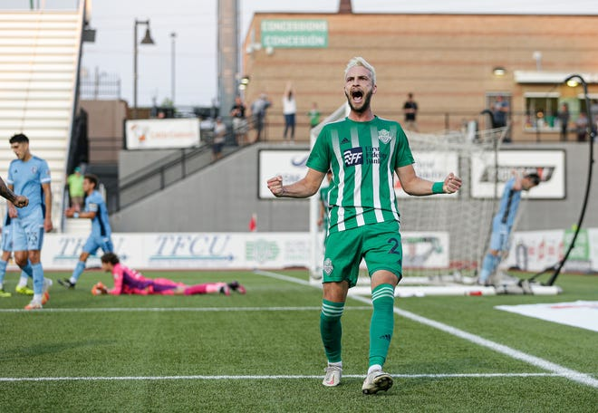 Villyan Bijev celebrates after his goal in Energy FC's 1-0 win against Sporting KC II on Wednesday night at Taft Stadium.