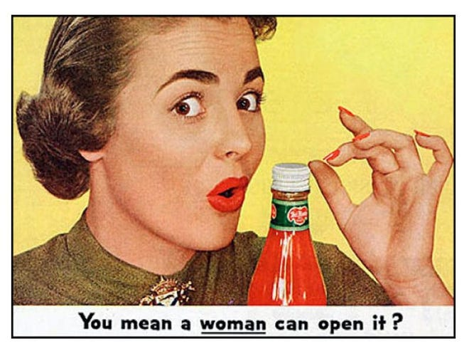 """A 1953 advertisement for Alcoa Aluminum: Its new bottle caps open """"without a knife blade, a bottle opener, or even a husband."""" (Source: Business Insider)"""