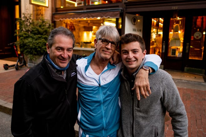 """Chad Verdi Jr., right, with his father, Chad Verdi, left, and actor Eric Roberts during filming of the forthcoming film """"Mr. Birthday."""""""