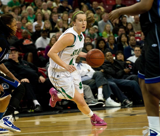 St. Mary's Ali Gibson looks to drive inside against Rialto in the Division II state final at Power Balance Pavilion in Sacramento in 2011.