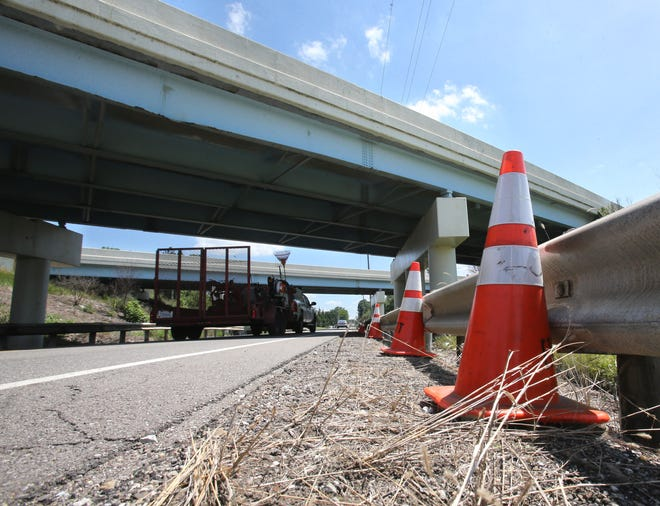 One lane of the westbound U.S. Route 30 bridge over Genoa Avenue SW has been closed due to a crash earlier this week, according to the Ohio Department of Transportation. The northern-most and center beams on the westbound structure sustained damage from the impact.