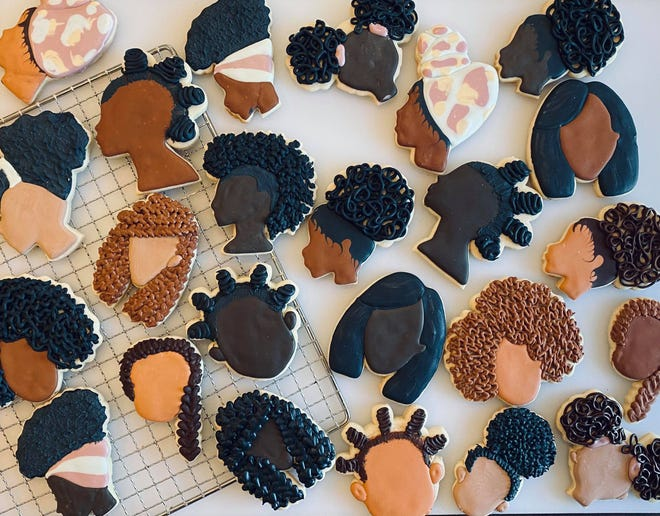 Sierra Lepley of Canton decided to create cookies celebrating the hairstyles of Black women. She creates other themed cookies, as well, as part of her baking hobby.