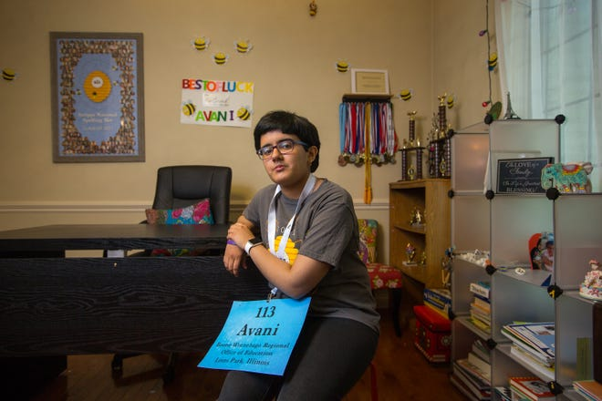 Avani Joshi, a 13-year-old eighth grader from Roscoe Middle School, poses for a portrait at her home on Thursday, June 24, 2021, in Roscoe. Joshi is in the semifinals of the Scripps National Spelling Bee. There are 30 spellers left that will compete Sunday night, with 10-12 advancing to the finals on July 8.