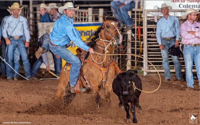 Stephenville tie-down roper Sterling Smith holds the record at the West of the Pecos Rodeo. In 2017, the three-time National Finals Rodeo qualifier (2013, 2015, 2018) clocked a 7.6-second run to take over the top spot in the tie-down roping record books in Pecos. Smith is competing at the rodeo this weekend.