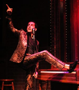 """Jason Cohen as Jerry Lee Lewis in """"Great Balls of Fire,"""" a new cabaret show at Florida Studio Theatre."""