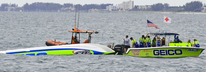 MISS GEICO, Class One with Driver: James Sheppard and Throttleman: Steve Curtis, flipped also during the last lap of the race during Sarasota's 35th annual Suncoast Powerboat Grand Prix Festival on, Sunday, July 7, 2019, off of the Lido beach area.