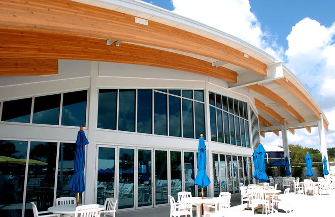 """Shades of Victor Lundy: The Indoor Pool and Wellness Center at Sun-n-Fun Resort on Fruitville Road in Sarasota was designed by Carlson Studio Architecture using the glued-laminated beams that """"Sarasota School"""" architect Lundy loved 60 years ago."""