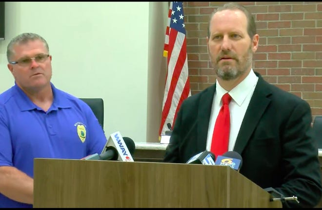 Columbus County District Attorney Jon David speaks at press conference Thursday evening in regards to officer-involved shooting in Whiteville.