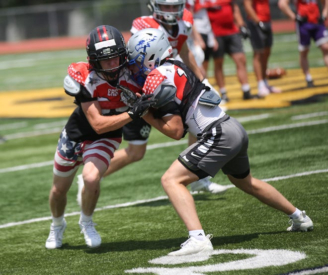 Rossville's Woodrow Rezac (left) and Perry-Lecompton's Thad Metcalfe (right) were more than ready to jump at the chance to play in the Kansas Shrine Bowl even with their selections coming in mid-to-late June.