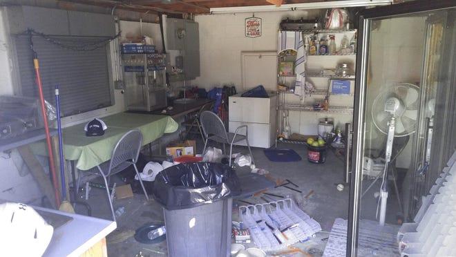 The vandalized snack shack on Monday