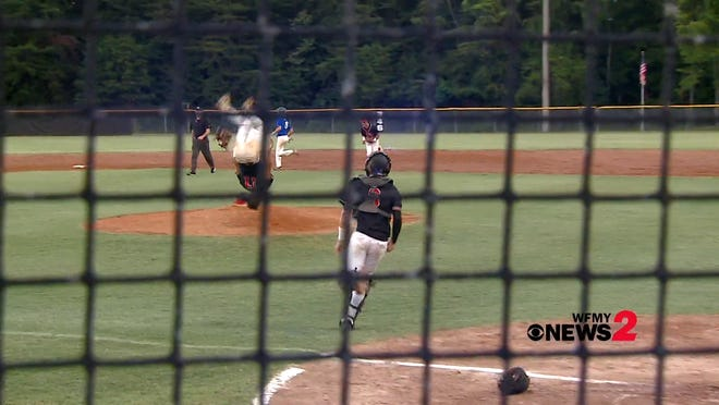 In this video captured by WFMY News 2 sports photographer/producer Brian Hall, four-star 2022 Ohio State tight end commit Benji Gosnell (center) performed a celebratory backflip after his East Surry High School baseball team advanced to this Friday's NCHSAA 1-A state championship series.