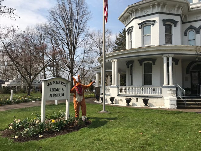 Jeeves from Reeves stands in front of the J. E. Reeves Home & Museum in Dover.