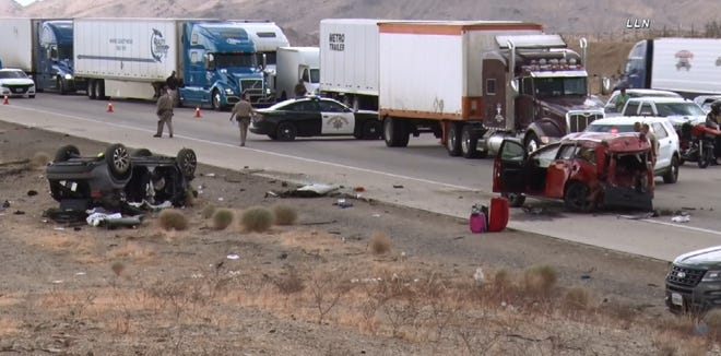 Several people were airlifted to area hospitals after they were involved in a multiple-vehicle collision Wednesday, June 23, 2021,  on Interstate 15 near Dale Evans Parkway in Apple Valley.