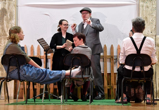 """The cast of """"Our Town"""" rehearses at the Anson Opera House on Wednesday. Shows are scheduled Friday and Saturday evenings, and alos Sunday afternoon."""