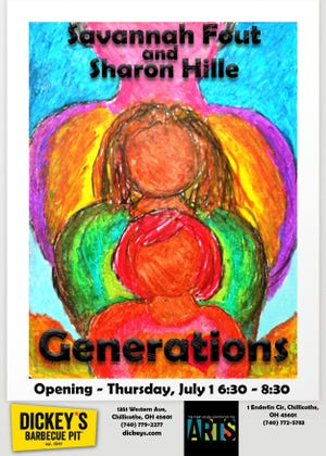 """The Pump House proudly presents its July show, """"Generations: Savannah Fout and Sharon Hille"""". Savannah is an award-winning high school artist here in the Ross County area.Sharon is also an area artist and will team her work with Savannah's. The show will run through July 31 at The Pump House Center for the Arts, 1 Enderlin Circle in Yoctangee Park."""