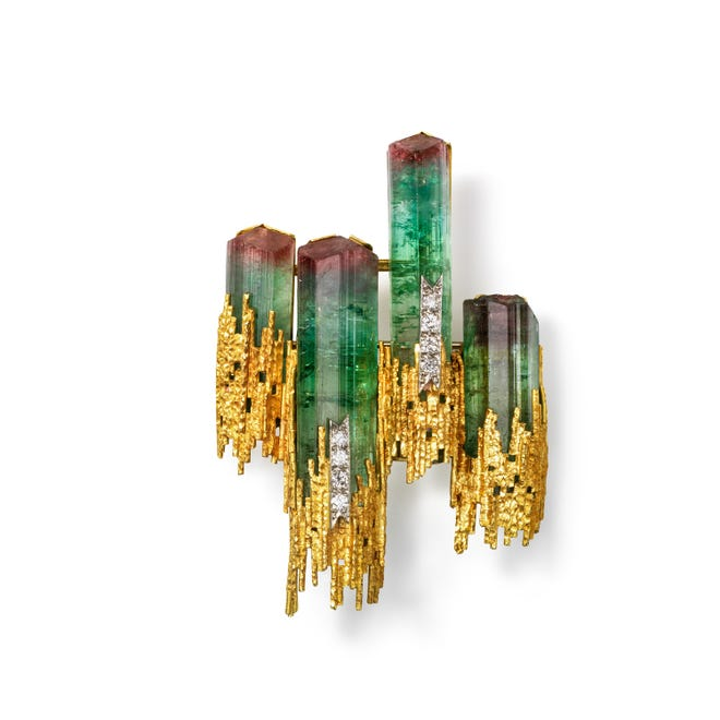 Andrew Grima (British, b. Italy, 1921–2007), Brooch, 1969, gold, watermelon tourmaline, diamonds, Courtesy of the Cincinnati Art Museum, Collection of Kimberly Klosterman, Photography by Tony Walsh